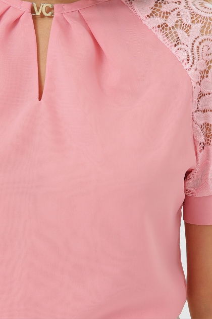персиковая блузка с коротким рукавом. Блуза Ильва к/р. Цвет: персик в интернет-магазине