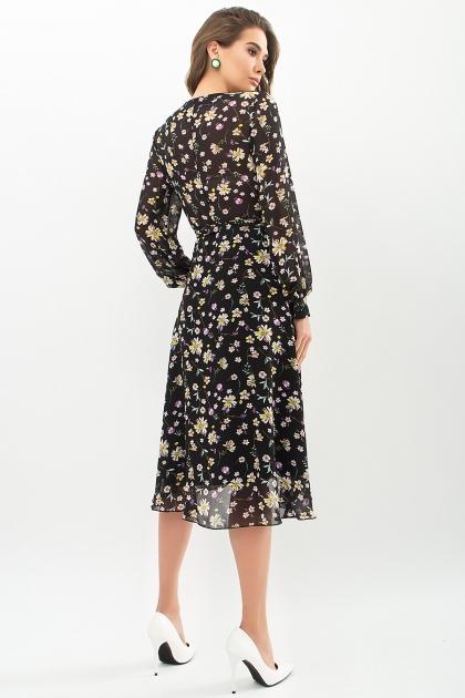 . Платье Алеста д/р. Цвет: черный-желтый цветок в интернет-магазине