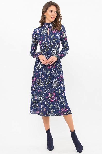 . Платье Санторини д/р. Цвет: синий-полевые цветы купить