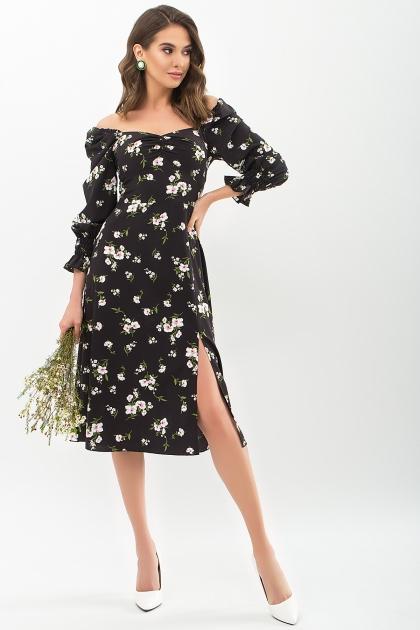. Платье Пала д/р. Цвет: черный-белый букет купить