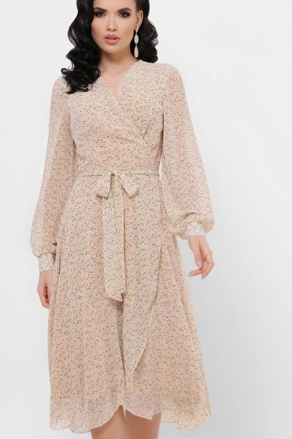 нежное платье на запах. Платье Алеста д/р. Цвет: бежевый-цветы м. купить