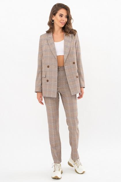 двубортный пиджак в клетку. Пиджак Элейн К д/р. Цвет: клетка коричнево-синяя цена