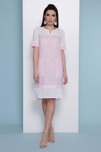 розовое льняное платье. Платье Сати к/р. Цвет: розовый купить