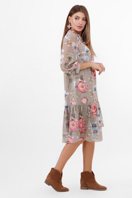 платье хаки из шифона. Платье Элисон 3/4. Цвет: оливка-цветы б. в интернет-магазине