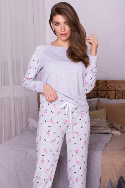 пижама с брюками для сна. Пижама Амаль. Цвет: серый-фламинго купить