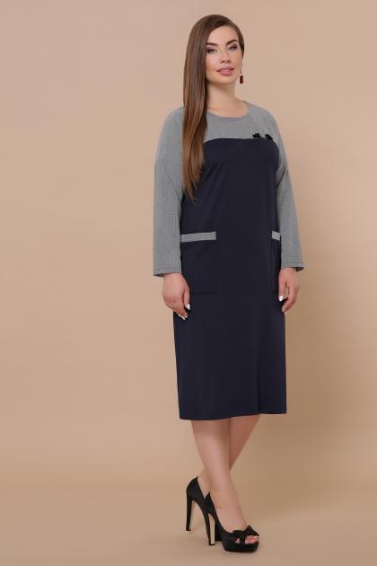 синее платье батал. Платье Джоси-Б д/р. Цвет: синий-лапка м.черная цена