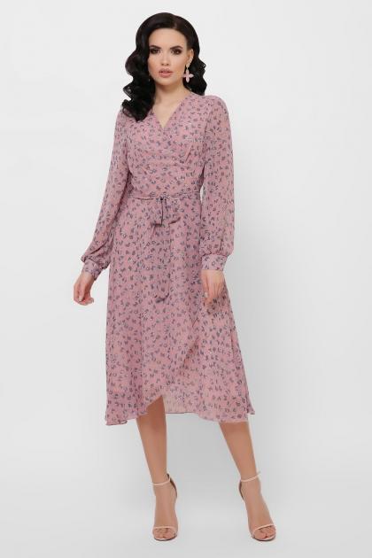 нежное платье на запах. Платье Алеста д/р. Цвет: лиловый-цветы синие цена