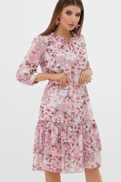 платье хаки из шифона. Платье Элисон 3/4. Цвет: розовый-цветы розов. купить