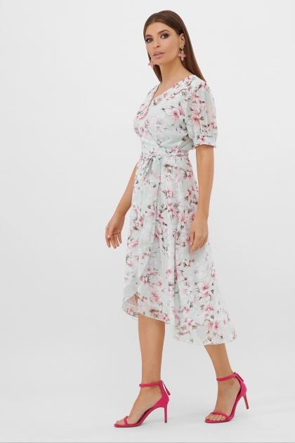 . Платье Алеста к/р. Цвет: мята-цветы розов. цена