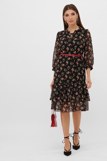 платье хаки из шифона. Платье Элисон 3/4. Цвет: черный-роза красная цена