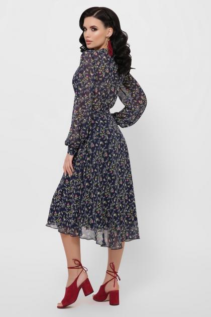 нежное платье на запах. Платье Алеста д/р. Цвет: синий-цветы розов. в Украине
