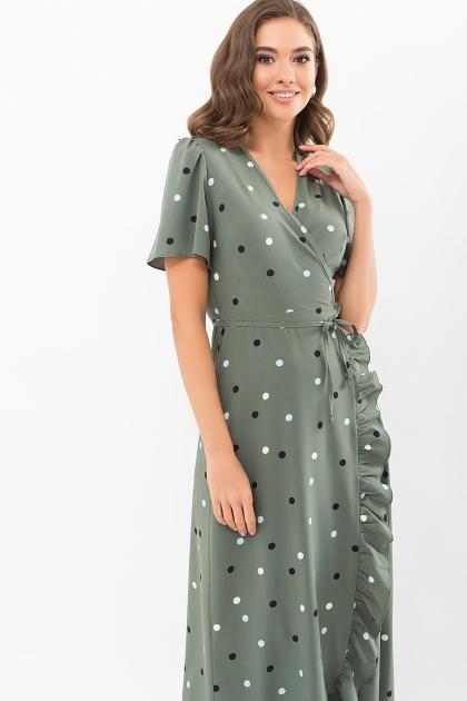 платье хаки в горошек. Платье Румия к/р. Цвет: хаки-горох цветной цена