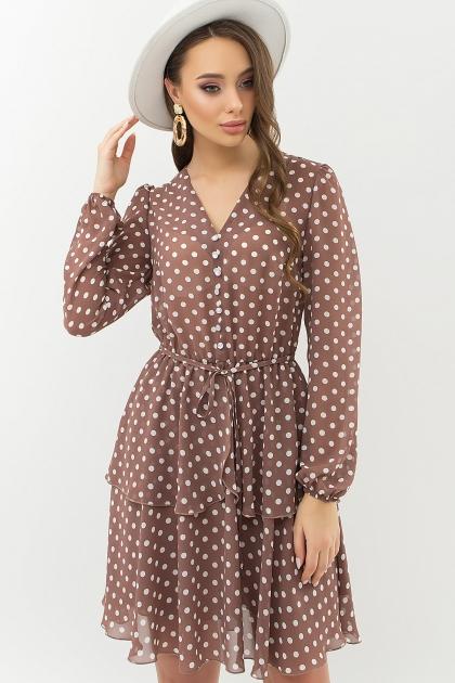 . Платье Алора д/р. Цвет: капучино-белый горох купить