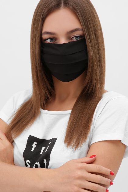 тканевая маска в горошек. Маска №1. Цвет: черный купить