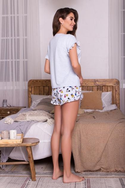 короткая пижама с шортами. Пижама Лиэль. Цвет: голубой-Микки Маус купить