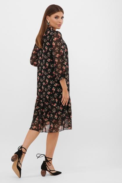 платье хаки из шифона. Платье Элисон 3/4. Цвет: черный-роза красная в интернет-магазине