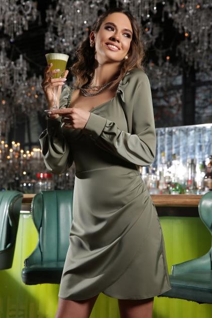 коктейльное серое платье. Платье Анелия д/р. Цвет: хаки цена