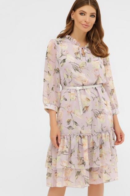 платье хаки из шифона. Платье Элисон 3/4. Цвет: сиреневый- роза ваниль купить