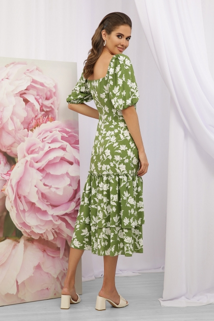. Платье Аделаида к/р. Цвет: зеленый-белые цветы в интернет-магазине