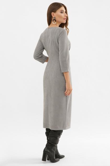 серое платье из замши. Платье Констанция 3/4. Цвет: серый в интернет-магазине