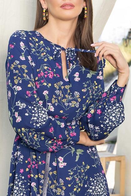 . Платье Агафия-1 д/р. Цвет: синий-полевые цветы в Украине