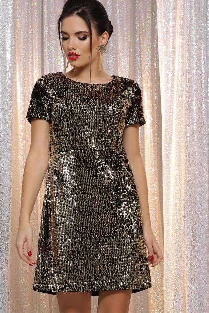 черное платье с пайетками. Платье Ираида к/р. Цвет: черный-золото купить