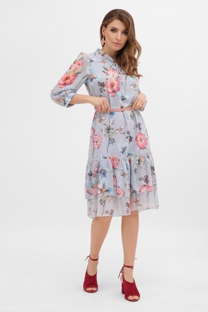 платье хаки из шифона. Платье Элисон 3/4. Цвет: голубой-цветы б. цена