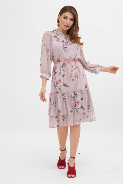платье хаки из шифона. Платье Элисон 3/4. Цвет: лиловый-цветы б. цена