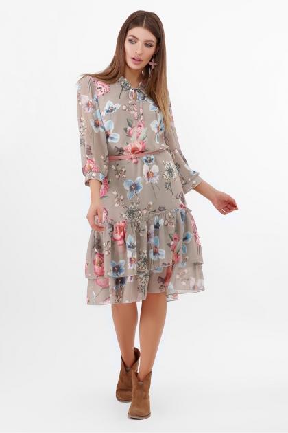 платье хаки из шифона. Платье Элисон 3/4. Цвет: оливка-цветы б. цена