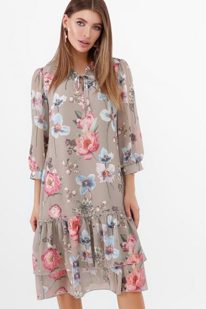 платье хаки из шифона. Платье Элисон 3/4. Цвет: оливка-цветы б. купить