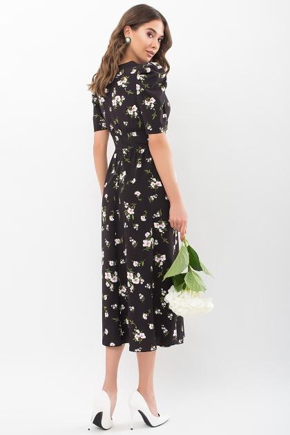 . Платье Фариза к/р. Цвет: черный-белый букет цена