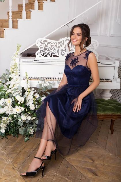 выпускное платье с фатиновой юбкой. Платье Паиса б/р. Цвет: синий купить