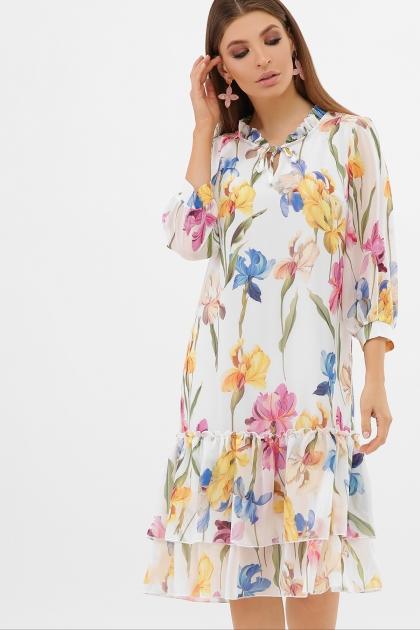 платье хаки из шифона. Платье Элисон 3/4. Цвет: белый-ирисы купить