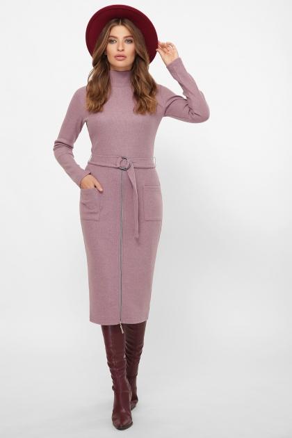 теплое платье-футляр. Платье Виталина 1 д/р. Цвет: т. лиловый купить