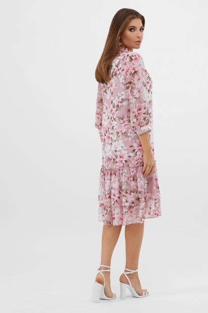 платье хаки из шифона. Платье Элисон 3/4. Цвет: розовый-цветы розов. в интернет-магазине