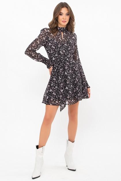 шифоновое платье мини. Платье Рина д/р. Цвет: черный-цветы веточки цена