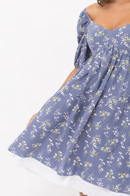 . Платье Эсмина к/р. Цвет: джинс-полевые цветы цена