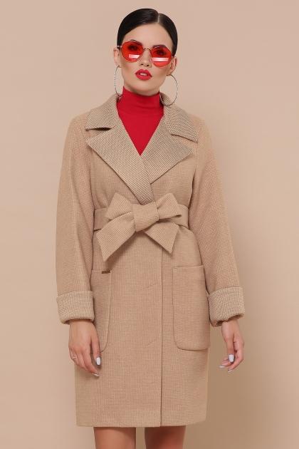 демисезонное песочное пальто. Пальто П-347-М-90. Цвет: 5-бежевый купить