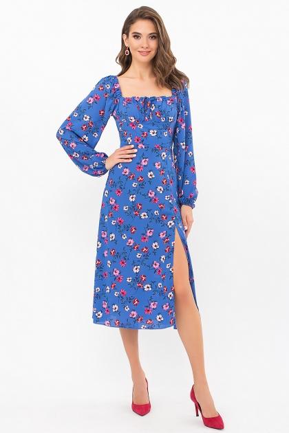 лавандовое платье с цветочным принтом. Платье Валия д/р. Цвет: джинс-цветочки купить