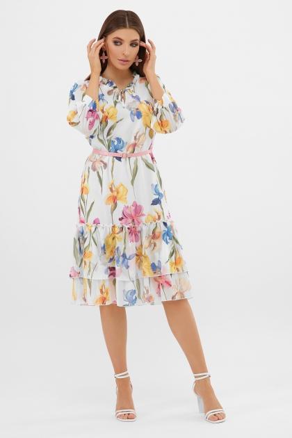 платье хаки из шифона. Платье Элисон 3/4. Цвет: белый-ирисы в интернет-магазине
