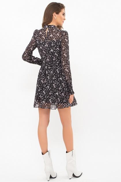 шифоновое платье мини. Платье Рина д/р. Цвет: черный-цветы веточки в интернет-магазине