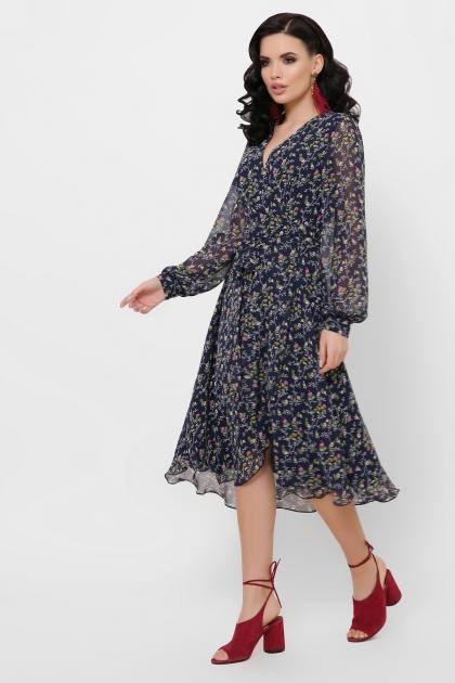 нежное платье на запах. Платье Алеста д/р. Цвет: синий-цветы розов. в интернет-магазине