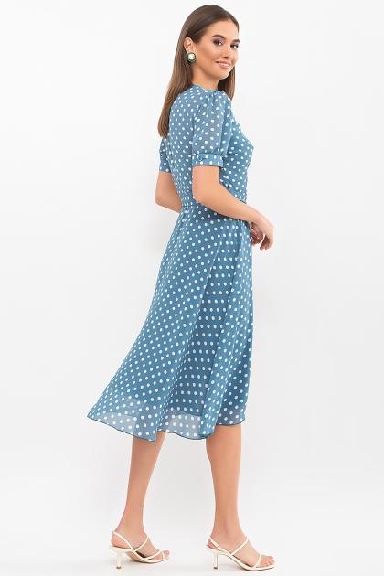 . Платье Алеста к/р. Цвет: бирюза-белый горох цена