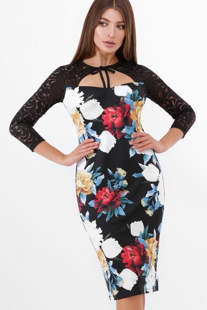 нарядное платье с цветами. Пионы Платье Карима д/р. Цвет: черный купить