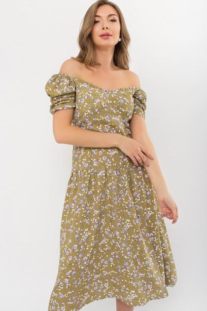 . Платье Никси к/р. Цвет: оливковый-сиреньРозы цена