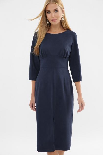 серое платье из замши. Платье Констанция 3/4. Цвет: синий цена