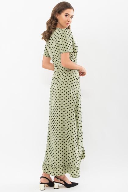 платье хаки в горошек. Платье Румия к/р. Цвет: хаки-черный горох в интернет-магазине