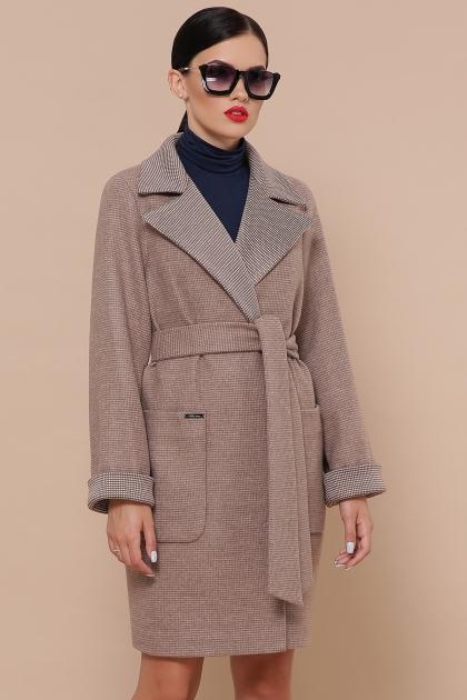 демисезонное песочное пальто. Пальто П-347-М-90. Цвет: 1-коричневый цена