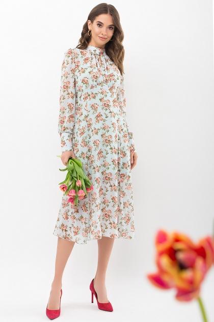 . Платье Мануэла д/р. Цвет: мята-персик Розы купить