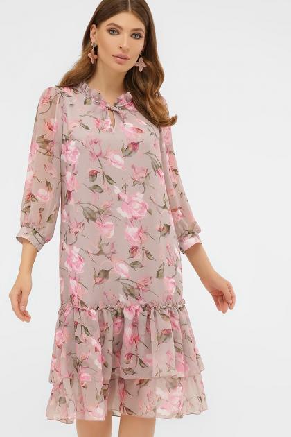 платье хаки из шифона. Платье Элисон 3/4. Цвет: капучино-розы розов. купить